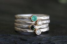 Custom gemstone stacking rings handmade by Andrea Bonelli | sweet Mother's Day gifts for grandmas or new moms.