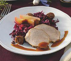 Weihnachtsessen: Braten mit Honig-Sojasoße und Rotkohl. Damit wird Heilig Abend ein Genuss!