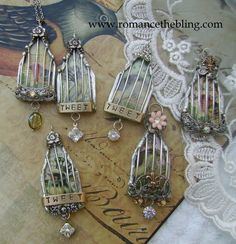 Silver Soldered Caged Bird Pendants by RTB  www.romancethebling.com