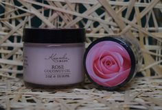 Kuumba Made Rose Coconut oil is botanically infused with Rose flower, and then given a few drops of essential oils to give it a summery scent and color. Check it out at www.kuumbamade.com #EssentialOils #CoconutOil #Rose #KuumbaMade