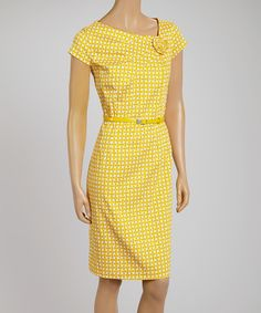 Look at this Yellow Geometric Belted Cap-Sleeve Dress on #zulily today!
