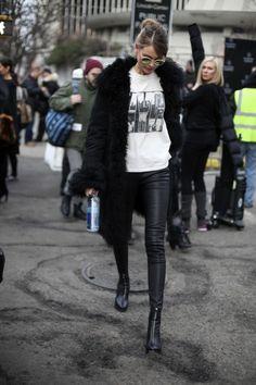 Behati Prinsloo Black furry coat and black leather pants