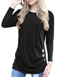 5f40897a0bb19 Aliex Women s Casual Tunic Top Long Sleeve Blouse T-Shirt Button Decor (m