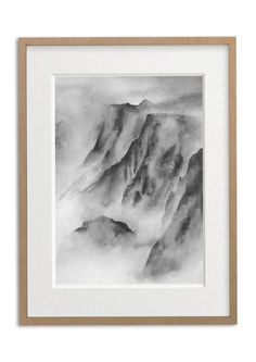 Bring some Nordic minimalism to your home with this stunning Monochrome Watercolour Print – Mountain Mist. This tranquil artwork depicts majestic and atmospheric Scandinavian mountains shrouded in mist. The perfect piece of art to bring a sense of calm & mindfulness to your home. Part of the stunning Serenity collection. Watercolor Print, Watercolor Paintings, Sculpture Art, Sculptures, Fine Art Paper, Light In The Dark, Mists, Serenity, Framed Art