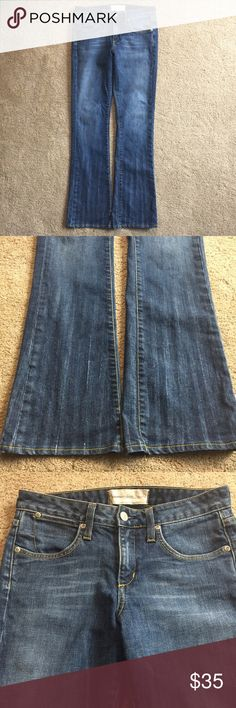 paper denim cloth bootcut jeans dark wash and slightly distressed very good condition