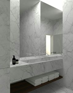 Solid features in the #bathroom bring out the clean essence of #design and luxury