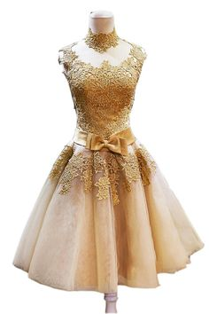 Ikerenwedding Women's High Neck Gold Lace Applique Bow belt Short Formal Prom Homecoming Dresses Gold US8. Lace Applique,Organza,High Neck,Zipper Back. Best for Wedding Party,Evening,Homecoming,Prom,Party,Cocktail,Special occasions!. Custom Size Service available for dresses,more information please contact us freely;. Hand Wash/Dry Clean;. Made in China,Imported.