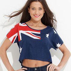 Free Fusion Australian Flag Crop Tee
