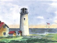 Chatham Light, Chatham Watercolor prints and note cards of over 250 lighthouses all over the USA. Start your collection today. Original paintings by sailor/artist Alfred La Banca, Darien, CT