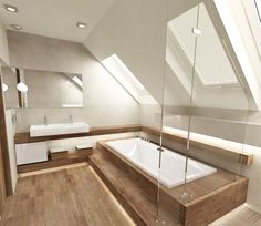 Airy Bathroom with Wood Floor