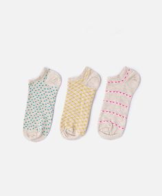 3-pack of triangle and striped socks - OYSHO