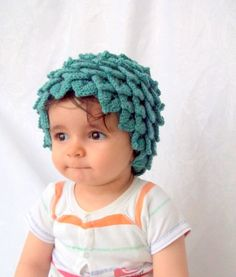 Crocodile Stitch Oil Green Baby Hat. I think I love it, I am not 100% sure though.