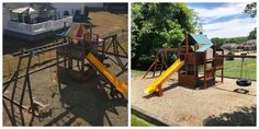 refurbish: sand, stain/seal, tune-up, new canopies and swings Wood Playground, Relocation Services, Canopies, All Brands, Swings, Seal, Yard, Patio, Courtyards