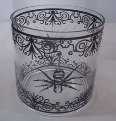 Spiders & Spiderweb Clear Glass & Black Pillar Candle Holder Lantern New #Unbranded #Gothic
