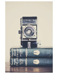 kodak camera book color photo print - whimsical fine art still life photography, nostalgic, mark twain, classic, vintage, green - 14x11. $40.00, via Etsy.