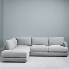 west elm haven 2 piece terminal chaise sectional Living Room Sofa, Living Room Furniture, Living Room Decor, Sofa Design, Interior Design, Grey Sectional, Modular Sectional Sofa, Modern Sectional, Modular Sofa Uk