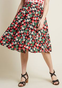 9ee566e7bf Hell Bunny Nostalgic Awe A-Line Skirt in Strawberries in S - Mid by Hell