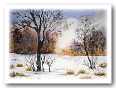 """The first snow"" Watercolour Maria Inhoven www.aquarelle-inhoven.de"