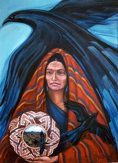 Crow is  keeper of the mysteries of Creation. Crow Medicine is about the power of illusion, the shapeshifter. Crow Woman is a sourceress holding a pot that contains a window to the world.
