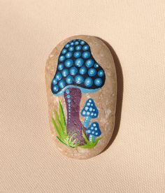 Dot Art Mushroom - Painted stone painted rock office ornament garden marker decoration stone art dotilism blue
