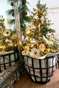 French linen, metal basket, and little Christmas tree - so cute!