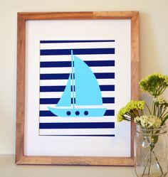 Sailboat 8x10 print- Nautical nursery decor- baby blue and navy- sailor theme party. $9.00, via Etsy.