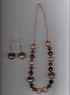 Fab find Shades of Brown and Swirl Handmade Brown Glass and Crystal Necklace and Earring  #Handmade
