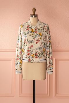 Aliyeh #Boutique1861 / Beige floral bomber jacket, chic and fun! #floral