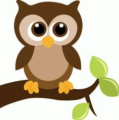 #41053: cute owl on a tree branch with leaves