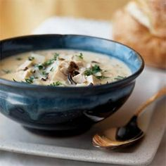Chicken Wild Rice Soup. Just made this and used cream cheese instead of the velveeta- it is delish!