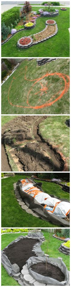 DIY Island Bed with Retaining Wall Bricks
