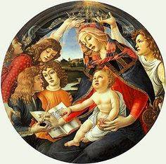 """Maria de' Medici in Sandro Botticelli's """"Madonna del Magnificat"""". Maria is the angel on the left that embraces from behind the two brothers Lorenzo and Giuliano"""