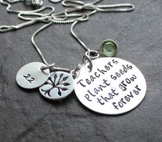 Hand Stamped Teacher Necklace - Personalized Sterling Silver - Teachers Plant Seeds