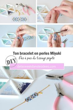 DIY Easy step by step for a nice Miyuki pearl bracelet De la Swe Bracelet Patterns, Beading Patterns, Beaded Anklets, Beaded Bracelets, Diy Bracelets How To Make, Diy Jewelry Tutorials, Textile Jewelry, Homemade Jewelry, Bracelet Tutorial