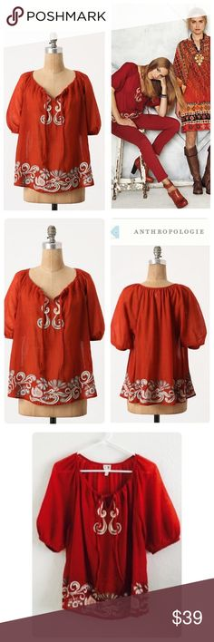 "Anthropologie Gauzy Gale Peasant Top Beautiful embroidered Peasant top❤️Windswept embroidery swirls around the hem of Edme & Esyllte's pellucid wool layer. Pullover styling Wool Dry clean 26""L 100% wool. Color Brick red Size 2. Worn once Anthropologie Tops"