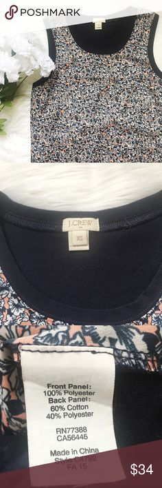 """J Crew Floral Print Panel Front Tank Top * J Crew Panel Front Print Top """"Frau Floral"""" * Sleeveless * Soft Navy Back Panel * Floral Print Front Panel * Style #C4792 Fall 2015  Size: XS (Extra Small) Color: Navy, Coral Pink, White Condition: Like New Material: Front Panel: 100% Polyester Back Panel: 60% Cotton 40% Polyester *Stock photo shown for Fit & Style*  Measurements Bust: 34 inches Length: 26 inches All measurements are approximate.  No stains, rips, tears 