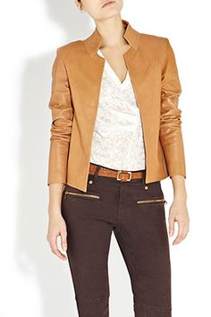 Tonia Bastyan opted for the softest buttery leather when designing this fitted tailored jacket. The tan colour is essential for your summer wardrobe and great worn with our Black Zip Detail Jeans and Burnout T.