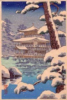 Kinkajuki Temple [Golden pavilion, Kyoto], by Tsuchiya Koitsu Published by Watanabe, Japanese Art Prints, Japanese Artwork, Korean Art, Asian Art, Vintage Japanese, Japanese Geisha, Japanese Kimono, Japanese Countryside, Art Asiatique