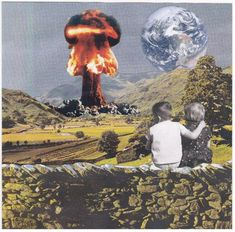 Surreal Collage Art Print: Girl, Boy and the Earth. Collage Kunst, Collage Art, Artistic Photography, Art Photography, Collages, Surrealist Collage, Kunst Online, Photocollage, Arte Pop