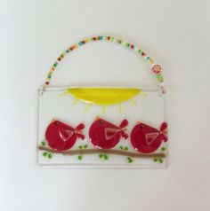 Red Birds of Happiness Fused Art Glass by LanieMarieDesigns