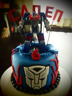 Optimus Prime Transformer Birthday Cake by Olive Parties