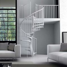 Scala elicoidale Eli Smart in metallo - Nord Kit Scale Standard Staircase, Stair Railing, Modern Interior, Hardwood, Room Decor, Flooring, House, Spiral Staircases, Type