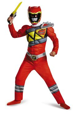 Red Power Ranger Dino Charge Muscle Boys Halloween Costume