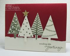 Easy Three Trees Christmas Card - Endless wishes - sentiment