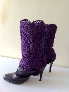 Crochet Purple Gold Sparkle Boot Cuffs with Flower, Leg Warmers, Spring Fashion Accessories