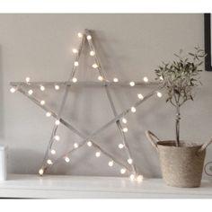 Wooden star frame with Xmas lights Christmas Feeling, Christmas Holidays, Christmas Crafts, Christmas Decorations, Holiday Decor, Christmas Stuff, Merry Christmas, Baby Decor, Kids Decor