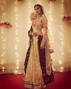 """beyhadh"" actress jennifer winget in lehenga Indian Bridal Wear, Indian Wedding Outfits, Bridal Outfits, Indian Outfits, Bridal Dresses, Indian Wear, Indian Attire, Indian Weddings, Indian Style"