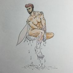 #MySketchbook #CH #Page #113 #character #design #concept #art #oc #fairy #wings #liquid #melting #fantasy #nude #naked #man #model #beard #guy #hairstyle #selfportrait #ink #sketch #conceptart #drawing #tagforlikes #MyArt