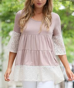 Look at this 42POPS Mocha Lace Tiered Peasant Top on #zulily today!
