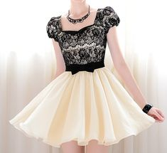 Vintage Sweetheart Neckline Lace Splicing Bow Short Sleeves  OMG I LOVE THIS!!!